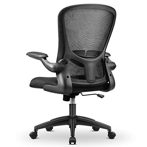 MFAVOUR Bürostuhl, Bürostuhl Ergonomisch, Schreibtischstuhl, Höhenverstellbarer Drehstuhl mit Armlehnen, Lendenwirbelstütze, Chefsessel aus Atmungsaktivem Netzstoff, Schwarz