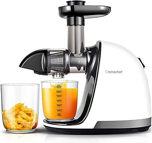 AMZCHEF Slow Juicer Lebensmittelqualität Entsafter Gemüse und Obst Profi Entsafter mit Ruhiger Motor & Umkehrfunktion & Saftkanne & Reinigungsbürste(150 Watt/Beige)
