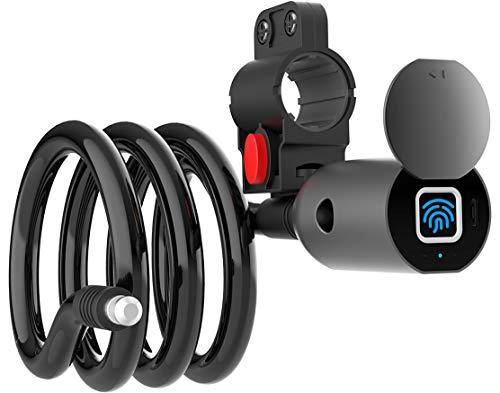 ATITI 自転車 鍵 指紋認証 自転車 ロック 指紋 バイク鍵 指紋 ワイヤーロック スマートロック チェーンロック 20枚指紋に対応 USB充電式 盗難防止 防水 防犯 直径12mm