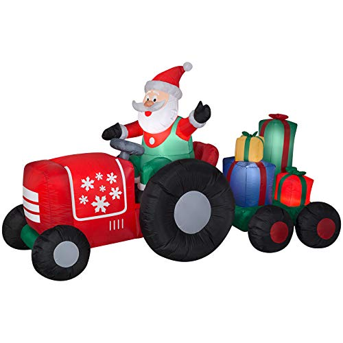 Gemmy 11801 Holiday Inflatable 5 Foot Airblown Santa on Tractor with Presents Scene