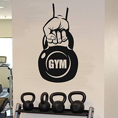 JXNY Kettlebell Gym Wandtattoo Kettlebell Übung Fitness Motivation Wandaufkleber Vinyl wasserdicht Gym Wanddekoration Wandbild,57x29cm