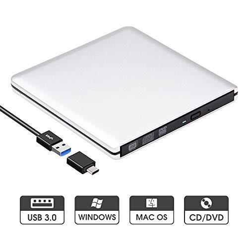 ROOFULL External CD DVD Drive USB 3.0 Type-C Slim Aluminum Portable DVD/CD ROM +/-RW Optical Drive Burner Writer for MacBook Pro/Air, iMac, Windows/Linux/Mac Laptop Desktop, Silver