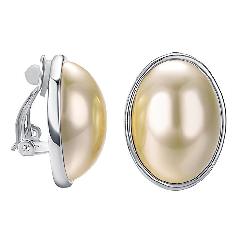 Yoursfs Big Clip On Earrings For Women Oval Simulated Pearl in 18ct Gold Plated Non Pierced Earrings