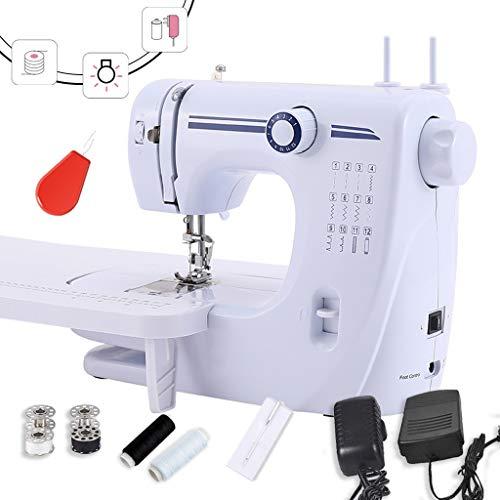 Draagbare naaimachine, draagbaar, verstelbaar, 2 snelheden, dubbele draad, reparatiemachine, elektrisch, wit, met pedaal -1,6