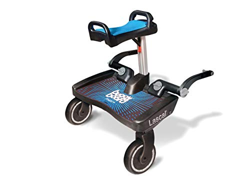 Lascal BuggyBoard Maxi+, Kinderbuggy Trittbrett mit großer Stehfläche und Saddle, Kinderwagen Zubehör für Kinder von 2-6 Jahren (22 kg), kompatibel mit fast jedem Buggy und Kinderwagen, blau