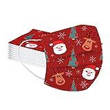 Kobilee 50 Weihnachtsmasken Mundschutz Erwachsene Einweg mit Motiv Bunt 3D Lustige Mund und Nasenschutz MNS Gesicht Bedeckung Maske für Damen Herren