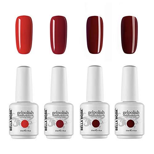 BELLA MODA 15ml UV Led Gel Nail Polish Set of 4 Red Color Nail Gel Soak Off Nail Manicure Kits