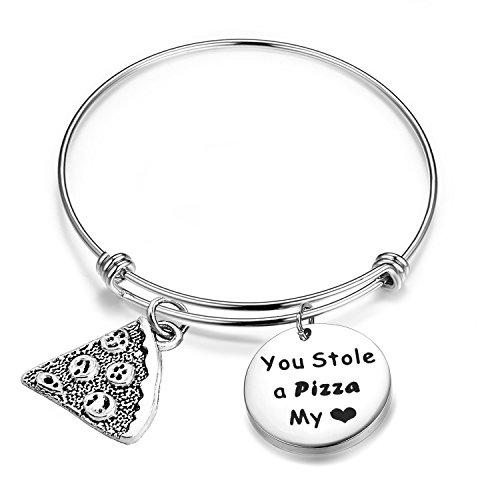 SEIRAA Pizza Bracelet Best Friends Gift You Stole A Pizza Of My Heart Wire Bangle Pizza Slice Jewelry (Pizaa bracelet)