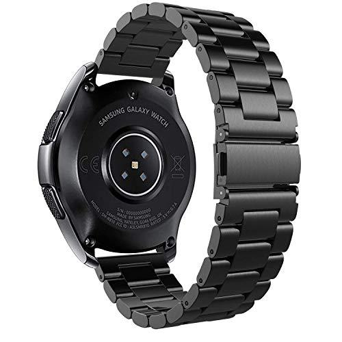 iBazal Correas 20mm Acero Metal Bandas Pulseras Compatible con Huawei Watch 2/Samsung Galaxy Watch 3 41mm/Galaxy 42mm/Active 40mm/Gear S2 Classic/Sport Hombre (Reloj No Incluido) - Moda Negro