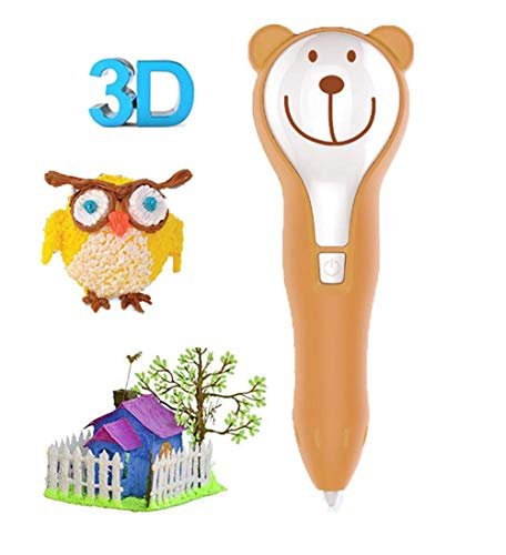 LG&S 3D Printing Pen for Arts And Crafts, Rechargeable Drawing Pen, Sculpting And Doodling Perfect DIY Gift for Kids Safe To Use,Brown