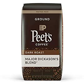 Peet's coffee major dickason's blend, dark roast ground coffee, 18 oz 3 major dickason's blend: conceived by mr. Peet and his most discerning customer, major dickason's blend has become the coffee that epitomizes the rich, flavorful taste of peet's flavor & roast: incomparable world blend, rich, complex, and full-bodied. Dark roast peet's commitment: to achieve our signature rich flavor, we source the world's best coffee beans, hand-roast them in small batches, and uphold the strictest standard of freshness