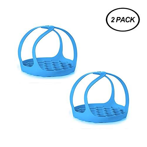 Autocuiseur portable en silicone de qualité alimentaire, souleveur de panier à vapeur, avec poignées verrouillables, grille anti-brûlure pour ustensiles de cuisson, support œufs instantanés 3Qt bleu