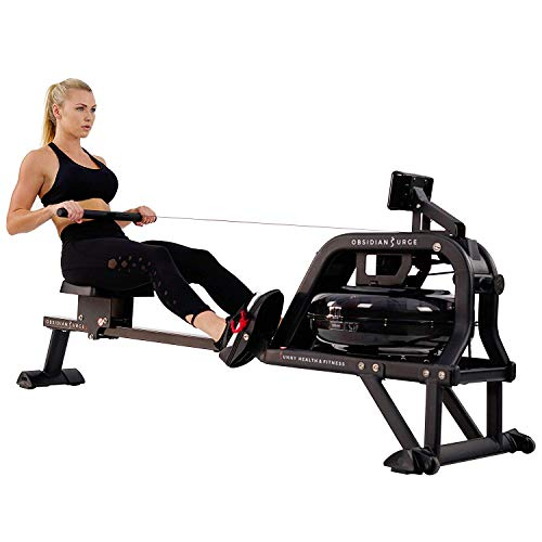 Sunny Health & Fitness Water Rowing Machine Rower, 16 Hydro Blades + LCD Monitor: Time, Time/500M, Distance, Strokes, Total Strokes, Calories, ANT+ and Scan with 250 LB Max Weight - Obsidian SF-RW5713