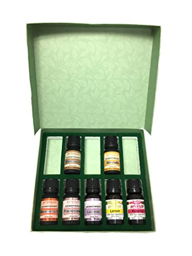 Top Essential Oil Gift Set - Best 7 Aromatherapy Oils - Cinnamon Leaf, Frankincense, Lavender, Lemon, Rosehip, Cedarwood, Citronella - Therapeutic Grade and Premium Quality - 10 mL by Sponix