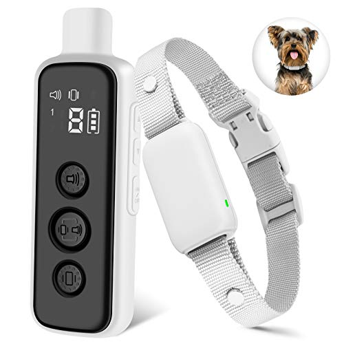 Bousnic No-Shock Dog Training Collar with Remote - 1000Ft Waterproof Rechargeable Dog E-Collars with Humane Beep Vibration for Small Dogs (5-20lbs)