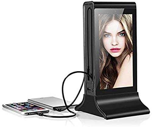 Digital Charging Station with 7″ Screen Table Stand for Advertising Player. Ideal for bars, restaurants, coffee shops. Charger for iPhone, iPad, Samsung, HTC and other Smart Devices (Black)