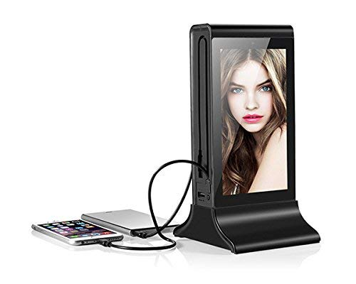 Power Bank and Digital Photo Frame 7 inch. Ideal for menu Bars, Restaurants, Coffee Shops. Charger for iPhone, iPad, Samsung, HTC and Other Smart Devices. (Black)