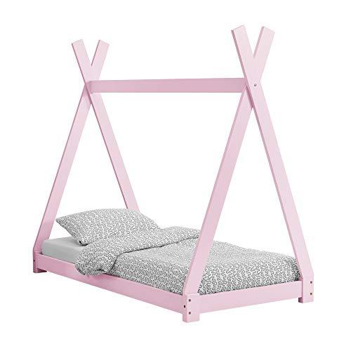 [en.casa] Kinderbett im Tipi-Design aus Kiefernholz Jugendbett Holzbett Hausbett 70x140 cm Rosa