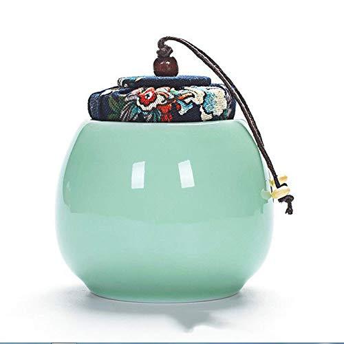liangh Urne Bio Erwachsene Einäscherung Urnen Für Asche,Biologisch Abbaubar Urne,Keramik Anzeige Der Urne Zu Hause/Büro,8.5X 8.5x9cm,Green