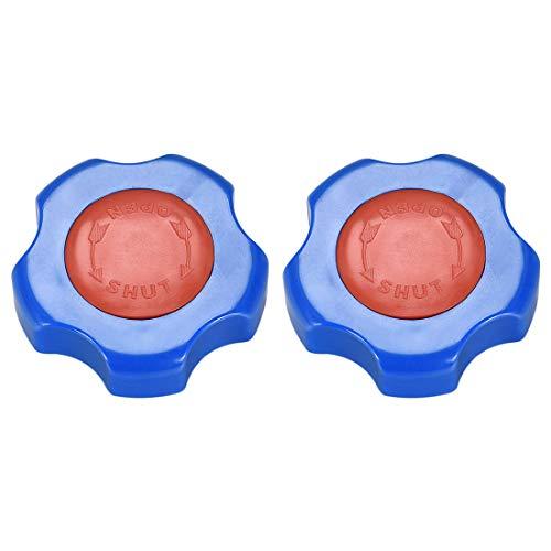 sourcing map - Manguera de plástico exterior para grifo, mango de rueda redonda, 7 x 7 mm, rueda OD 64 mm, ABS azul y rojo 2 piezas