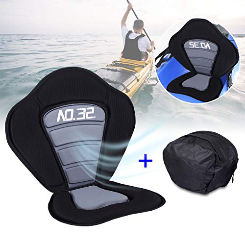 Wodesid Deluxe Kayak Seat with Detachable Back Storage Bag Heavy Duty Padded Canoe Seat Adjustable High Backrest Boat Seat Cushioned Fishing Seat for Kayaking, Canoeing, Drifting, Rafting