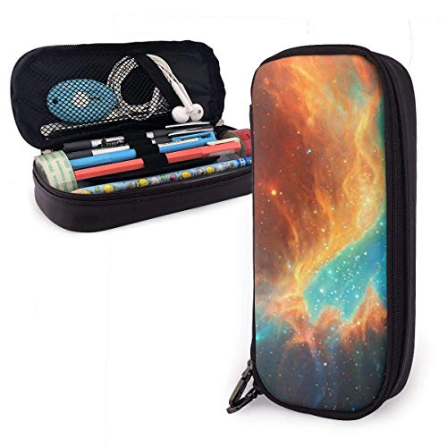 ZYWL Commedia Dell Arte - an Hand Painted Cute Pen Pencil Case Leather 8 X 3.5 X 1.5 Inch Big Capacity Double Zippers Pencil Pouch Bag Pen Holder Box for School Office Girls Boys Adults