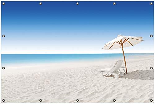 Wallario Garten-Poster Outdoor-Poster, Sonnenliege am weißen Strand unter blauem Himmel in Premiumqualität, für den Außeneinsatz geeignet
