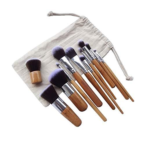 WWY Ombre à paupières Applicateur, 11pcs / lot poignée en Bambou Brosse de Maquillage pinceaux de Maquillage de Tige de Bambou Suit Perche de Bambou avec Sac, pinceaux de Maquillage