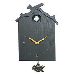 Teerwere Cuckoo Clock Modern Cuckoo Wall Clock with Bird Shaped House Minimalist Cuckoo Clock with A Modern Design Quartz Cuckoo Clock (Color : Gray, Size : 12 inches)