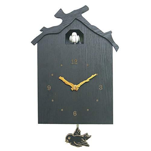 CuteLife Reloj cucú Reloj Moderno de la Pared del Cuco con la casa en Forma de Ave, el Reloj de Cuco Minimalista con un diseño Moderno Reloj de Pared de Cuco (Color : Gris, Size : 12 Inches)