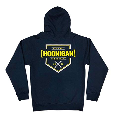 Hoonigan Bracket X Zip Hoodie | Perfect for Car and Drifting Enthusiasts, Mechanics and Gear Heads | Available in Small to 3X (Large, Navy/White/Yellow)