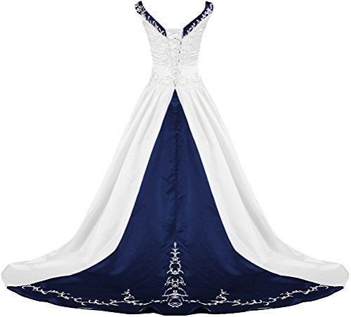 APXPF Women's V Neck Satin Embroidery Wedding Dress for Bride Chapel Train White and Navy US22