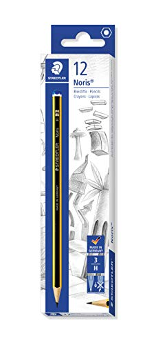 STAEDTLER 120-3 Noris Bleistift 120 Härtegrad H, 12 Stück, Schwarz, einzelpackung
