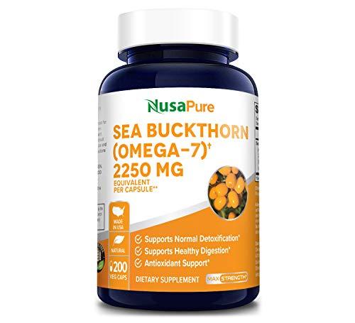 Sea Buckthorn (Omega 7) 2250mg 200 Veggie Powder Caps - Extract 5:1, Non-GMO & Gluten Free - No Fish Burp, Omega-7 Palmitoleic Acid, Weight Loss