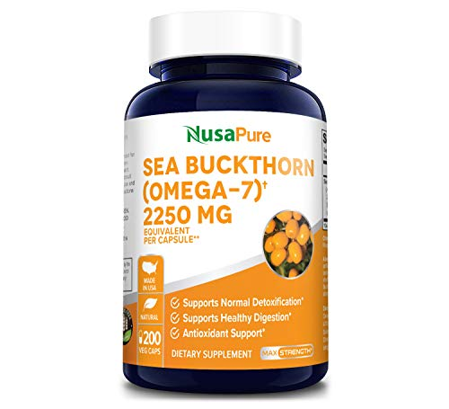 Sea Buckthorn (Omega 7) 2250mg 200 Veggie Powder Caps - Extract 5:1, Non-GMO & Gluten Free - No Fish Burp, Omega-7 Palmitoleic Acid, Weight Loss