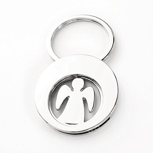 Schlüsselanhänger - Schutzengel - mit Münze für Einkauswagen - Edelstahl Chromglänzend - praktisch und edles Desigen - Größe mit Schlüsselring L 6 x B 3,4 x H 0,6 cm