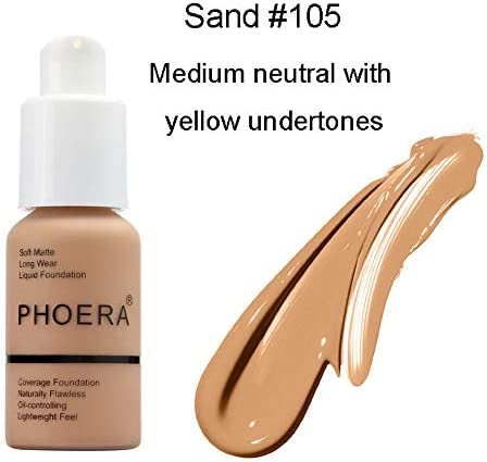 Aquapurity Phoera® Full Coverage Foundation Soft Matte Oil Control Concealer 30ml Flawless Cream Smooth Long Lasting 24HR UK (F101 PORCELAIN)