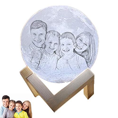 Persönlichkeit Foto Mind-Glowing 3D Christmas Lamp wiederaufladbare Lunar Night Light(Weiß 3.5inch/9cm)