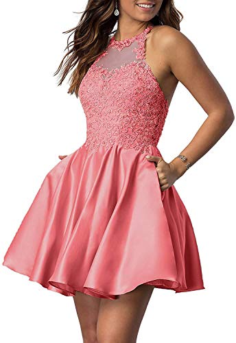 RYANTH Women's Short Beaded Prom Dresses 2020 Halter Lace Formal Party Gown with Pockets RHC08 Coral 2
