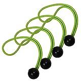 Master Lock 3254EURDAT Cuerdas elásticas con Bola, Paquete de 4 Tensoress, óptimo para Estera de Yoga, Verde, 20cm x 4mm