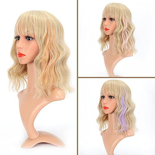 VCKOVCKO Natural Wavy Short Bob Wigs With Air Bangs Highlight 3 Colors Plus 3 Pcs Colorful Clip in Hair Extentions Women