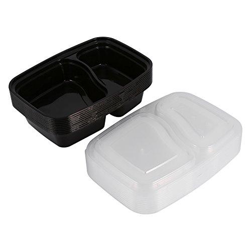 Vassoi per la Conservazione degli Alimenti, Contenitori per la Preparazione dei Pasti in Plastica a 2 Scomparti per Microonde Contenitori per la Conservazione degli Alimenti Nuovi Co(Nero 1000ML)