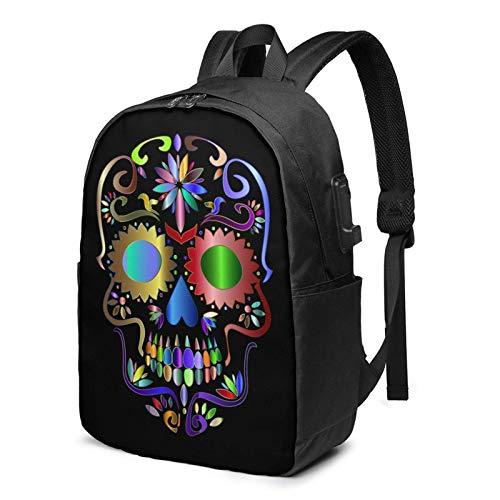 XCNGG Prismatic Sugar Skull Logo Business Laptop School Bookbag Mochila de Viaje con Puerto de Carga USB y Puerto para Auriculares de 17 Pulgadas
