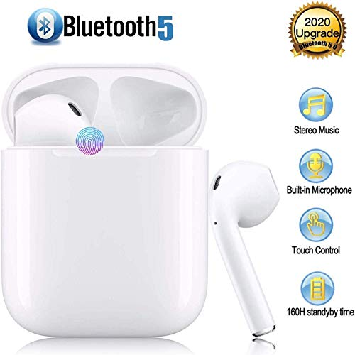 Auriculares Bluetooth,Auriculares inalámbricos Bluetooth In-Ear Mini Auriculares Auriculares,Control Táctil,Micrófono Incorporado y Caja de Carga,Deportivos para Android/iPhone Apple Airpods