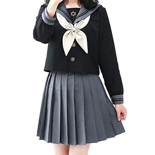 Escolar de Japón Uniforme JK Traje de Marinero Disfraz de Colegiala Japonesa, Anime Cosplay Traje de Sailor Moon para Mujeres Niñas, Top de Manga Larga + Falda Gris (M)