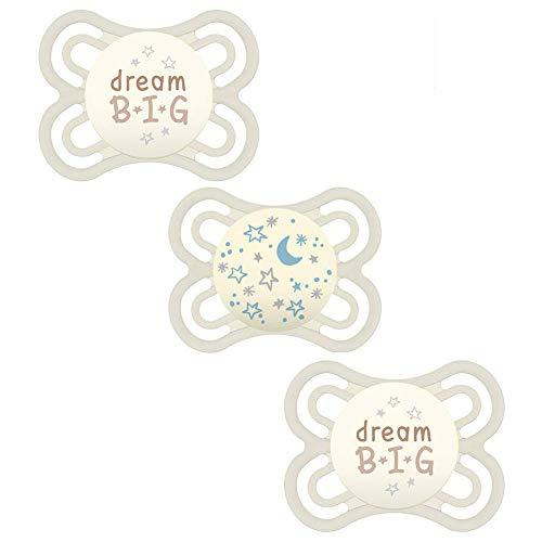 MAM Babyartikel Perfect Night Schnuller, leuchtend, 0-6 Mo Uni // 3er Set // inkl. 3 Sterilisiertrasportboxen