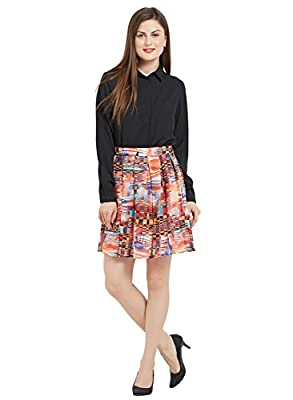 Women's Casual Pleated Vintage Mini Skater Skirt Flared Retro Grid Print A-Line Midi Skirts