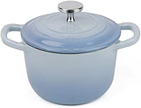 WZWHJ Blue casserole, precision cast iron, not easy to rust, strong and durable, evenly heated