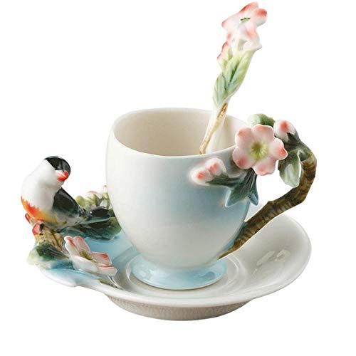 fsafa Hermosamente 3D Pájaro Taza De Café con Plato De Cuchara,Taza De Porcelana De Esmalte De Color con Platillos Y Cucharaditas,Novedad Personalizada Chocolate Té Leche Tazas 140Ml,Mejor Regalo