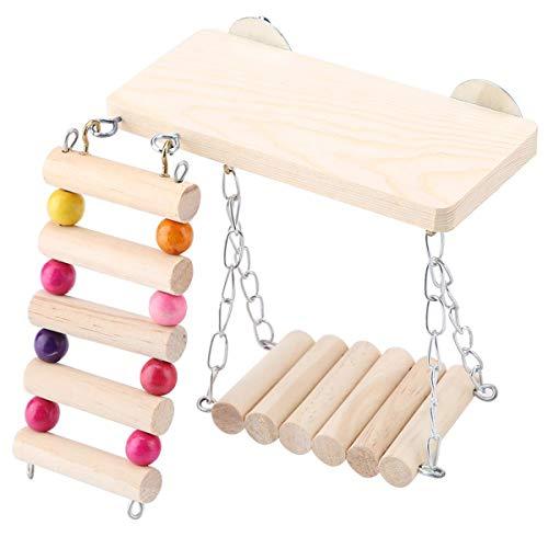 ハムスター 木製 ステージ 吊り橋 はしご 玩具 遊具 3点 セット かじり木 ケージ 用 カラフル おもちゃ デグー リス ワズチヨ (?3点 ウッド)